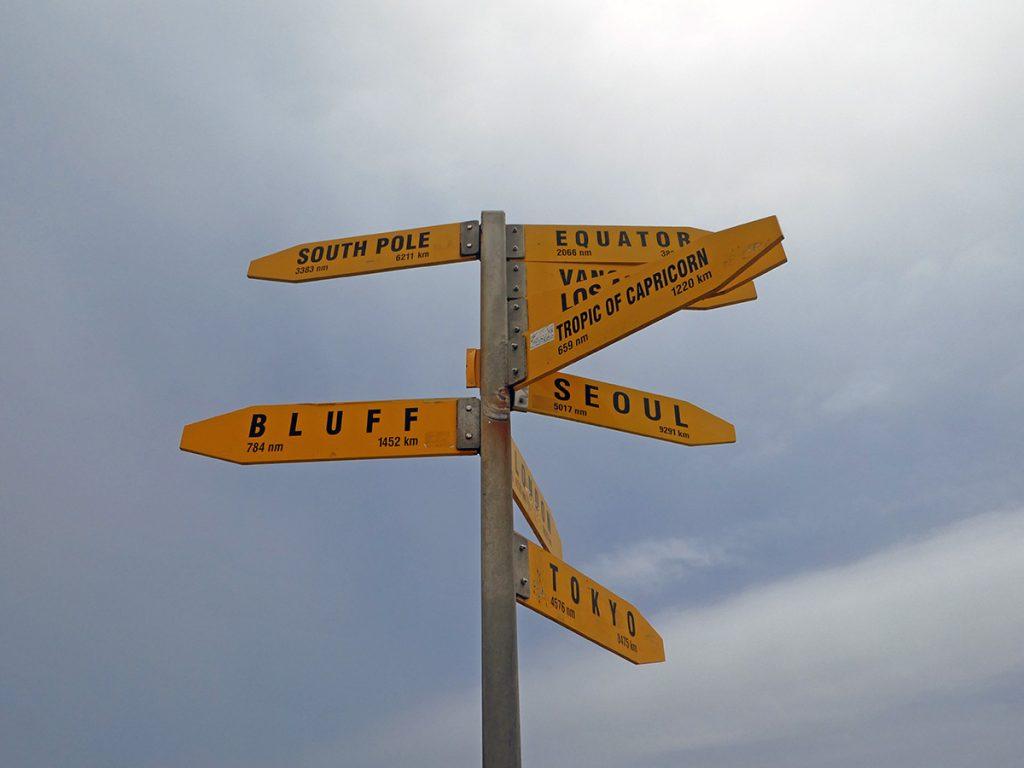 De wegwijzers bij Cape Reinga